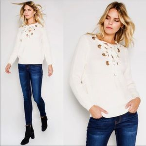 Sweaters - Reversible chunky knit lace up sweater